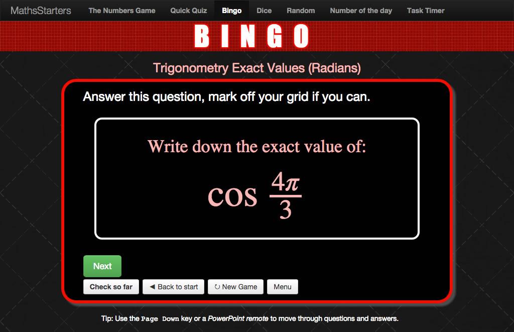 MathsStarters Bingo screenshot showing the question cos (4pi/3).