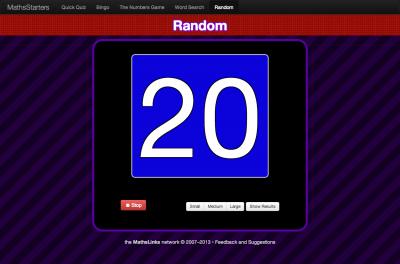 Screenshot of the MathsStarters Random tool.