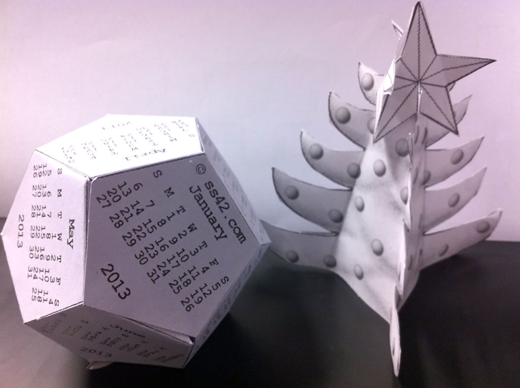 Dodecahedron and Christmas Tree Calendar