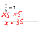 Model solution to x/5=7