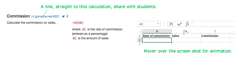 Screenshot from Excel for Mathematics General web-site