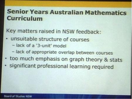Senior Years Australian Mathematics Curriculum