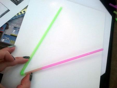Bendy straws to make an angle