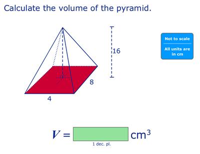 Mathletics question on volume of a pyramid.