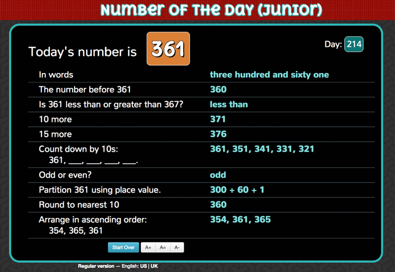 Screenshot of Number of the Day (junior)