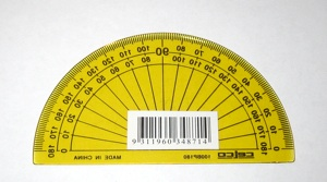 Protractor with label