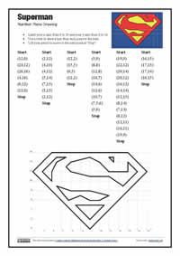 Printables Coordinate Grid Pictures Worksheets superman number plane logo mathsclass drawing 1st page screenshot