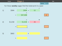 Screenshot of wages exercises